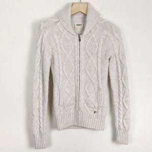 Aritzia TNA Wool Alpaca Cableknit Zip Up Cardigan